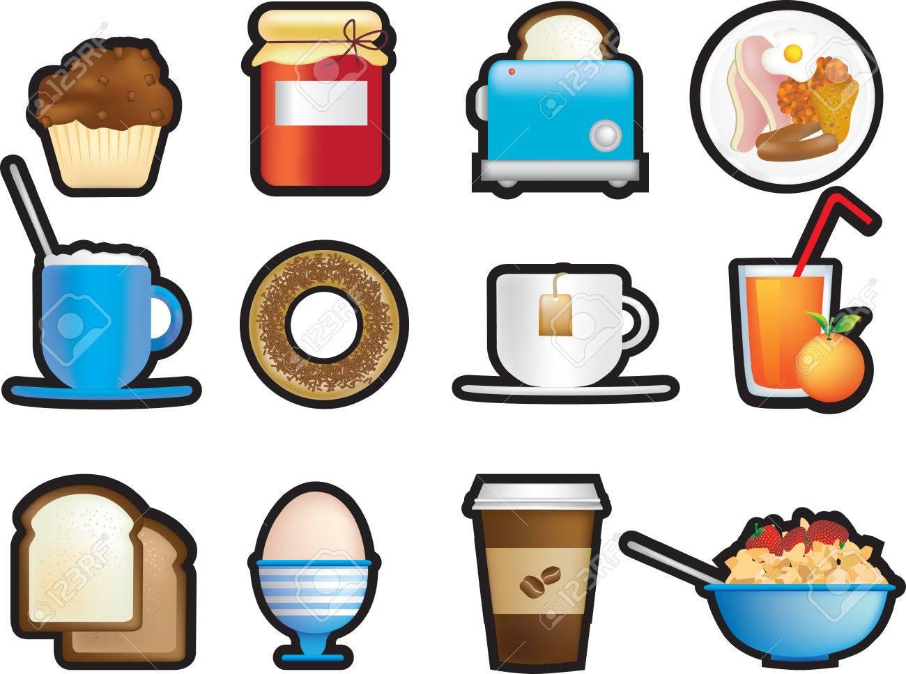 illustrated icon set of fun breakfast items Stock Vector - 4894638