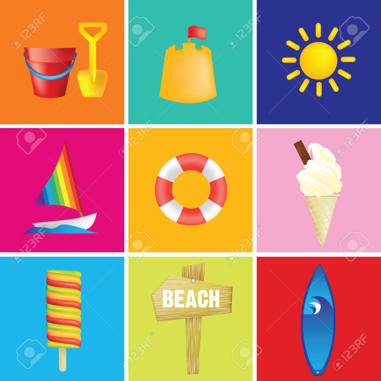 illustration of a beach or seaside holiday or vacation Stock Vector - 5343992