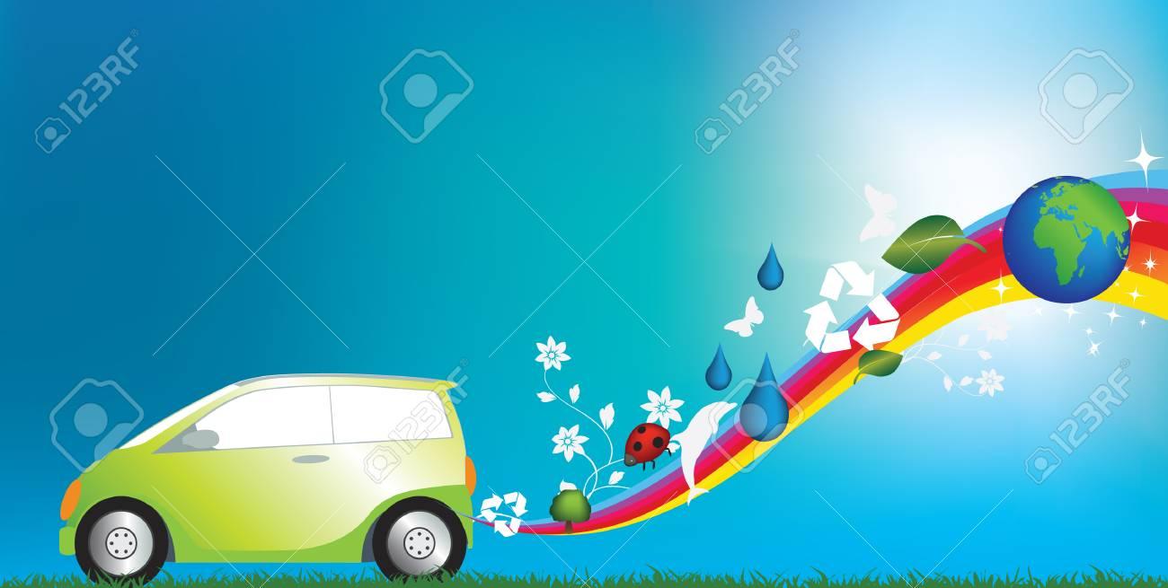 illustration of an environmentally freindly green car Stock Vector - 5343996