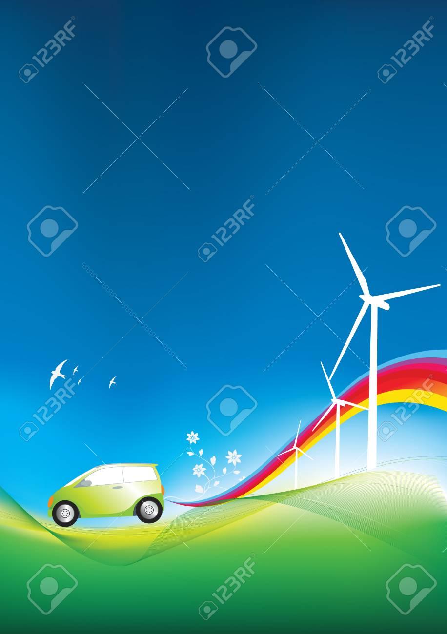 illustration of an environmentally freindly green car Stock Vector - 5343995