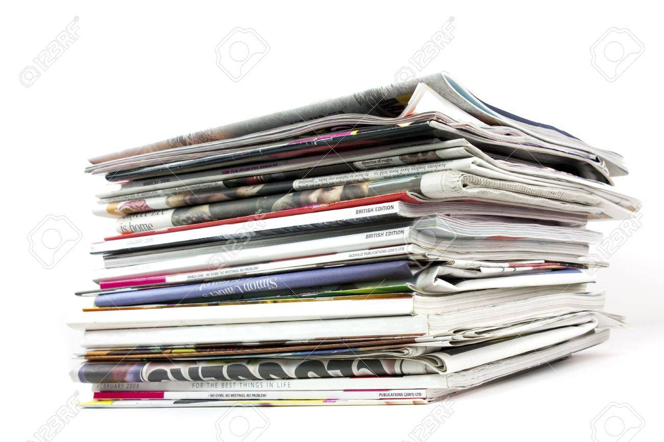 Stack Of Newspapers And Magazines On White Background Stock Photo ...