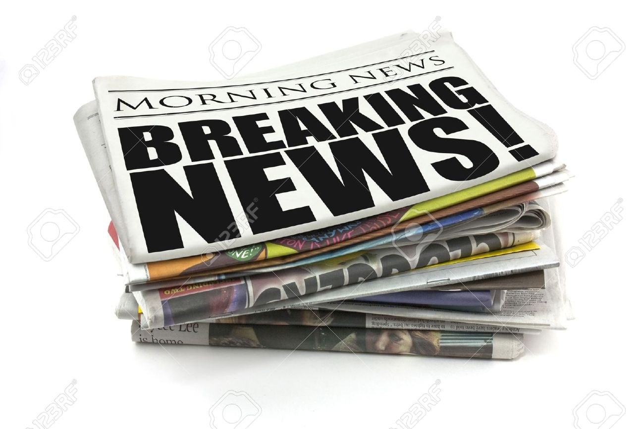 breaking news headline on a mock up newspaper stock photo, picture