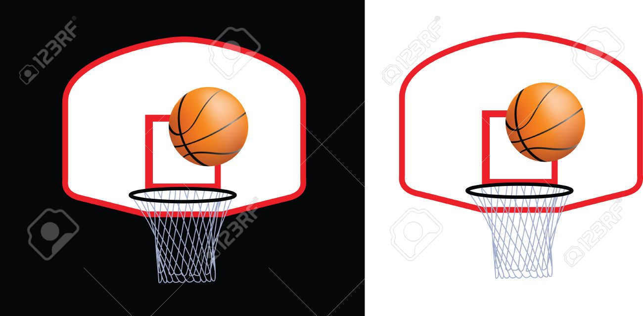 Detailed Illustration Of A Basketball Hoop And Ball Royalty Free