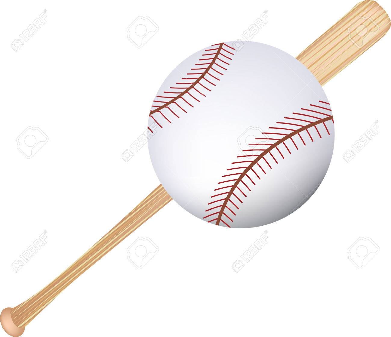 Simple Icon Style Illustration Of A Baseball Bat And Ball Stock Vector