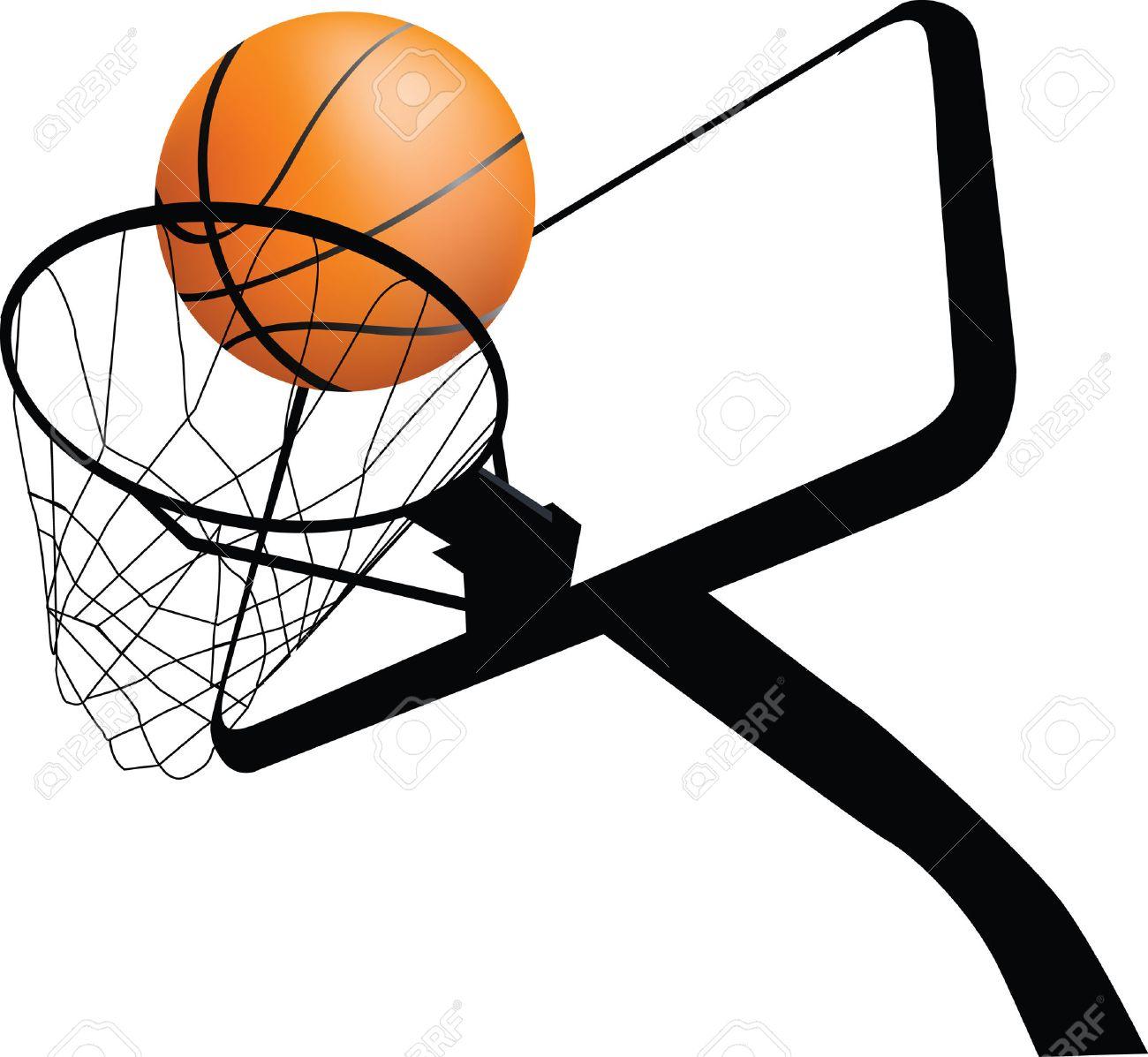 Illustration Detaillee D Un Panier De Basket Et La Boule Clip Art