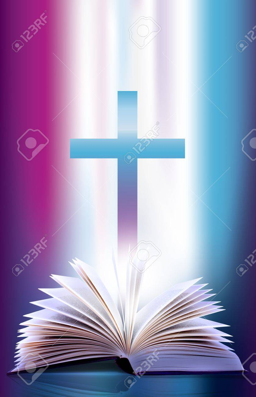 Illustration of an open flicking bible pages  and cross Stock Photo - 5932850