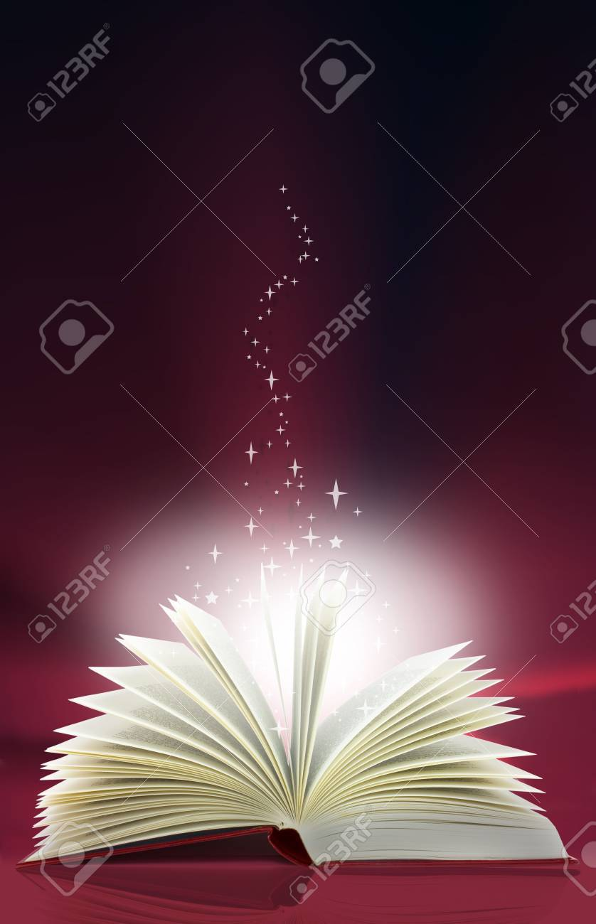 A magic book with light and stars emanating from the pages Stock Photo - 5932848