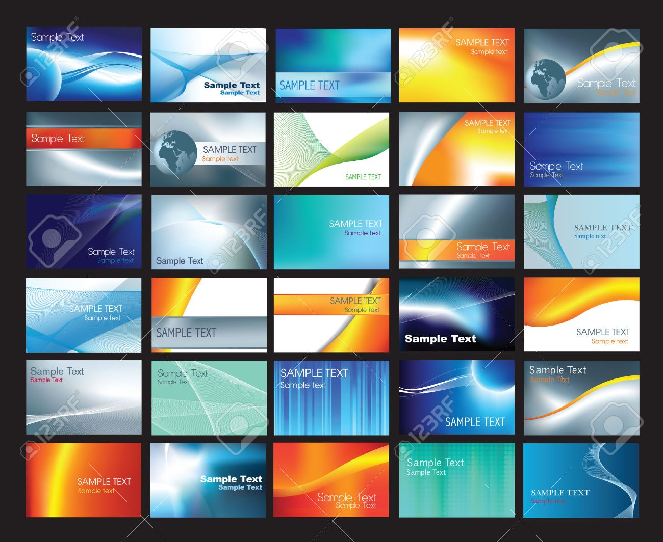 business card template set with example text layouts Stock Vector - 5957506