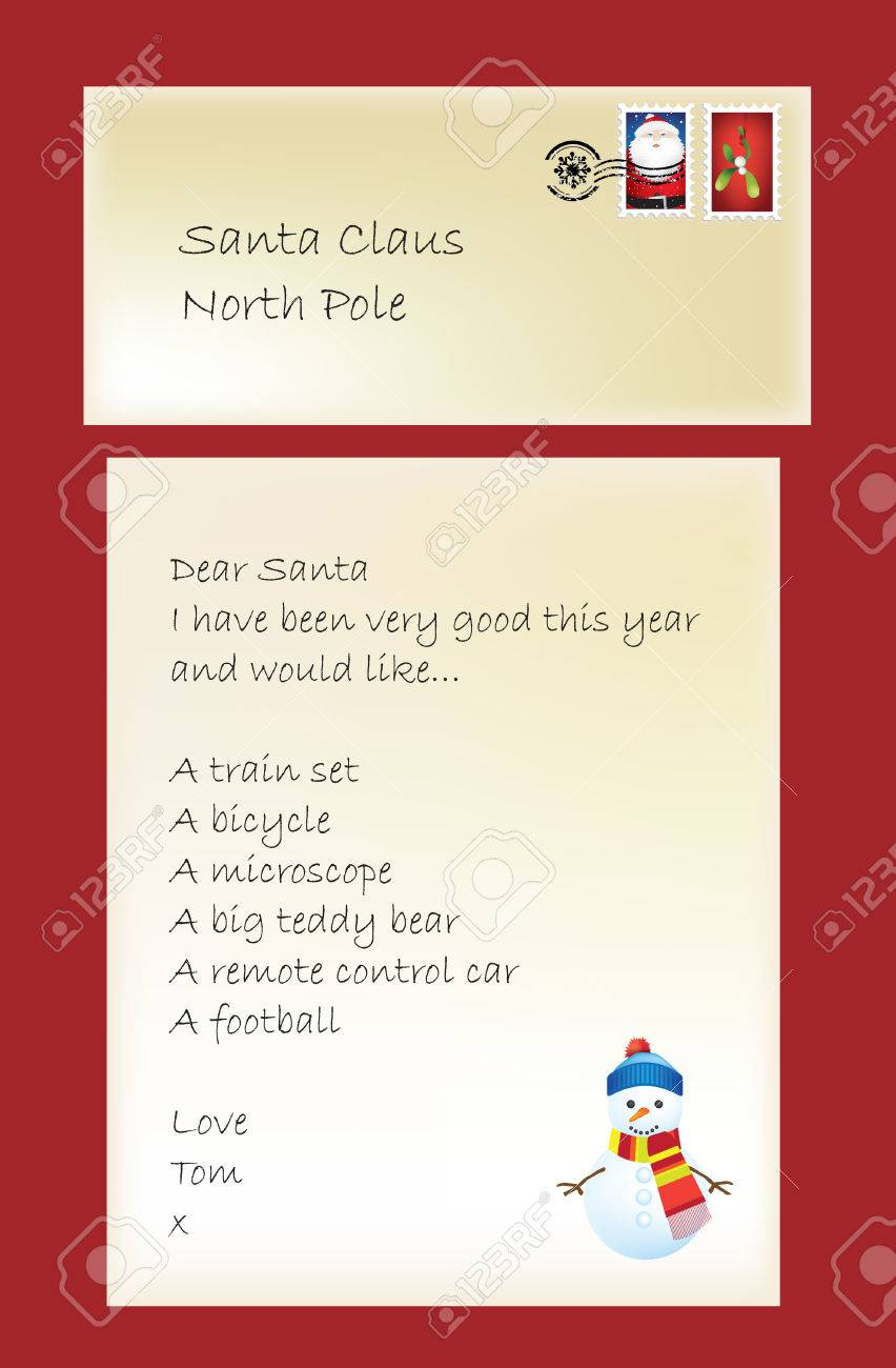 Letter to father chrisrtmas or santa from a little boy, illustration Stock Vector - 6075658
