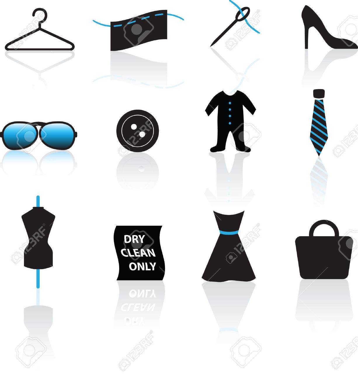 illustration of a set of fashion and clothing icons Stock Vector - 6391537