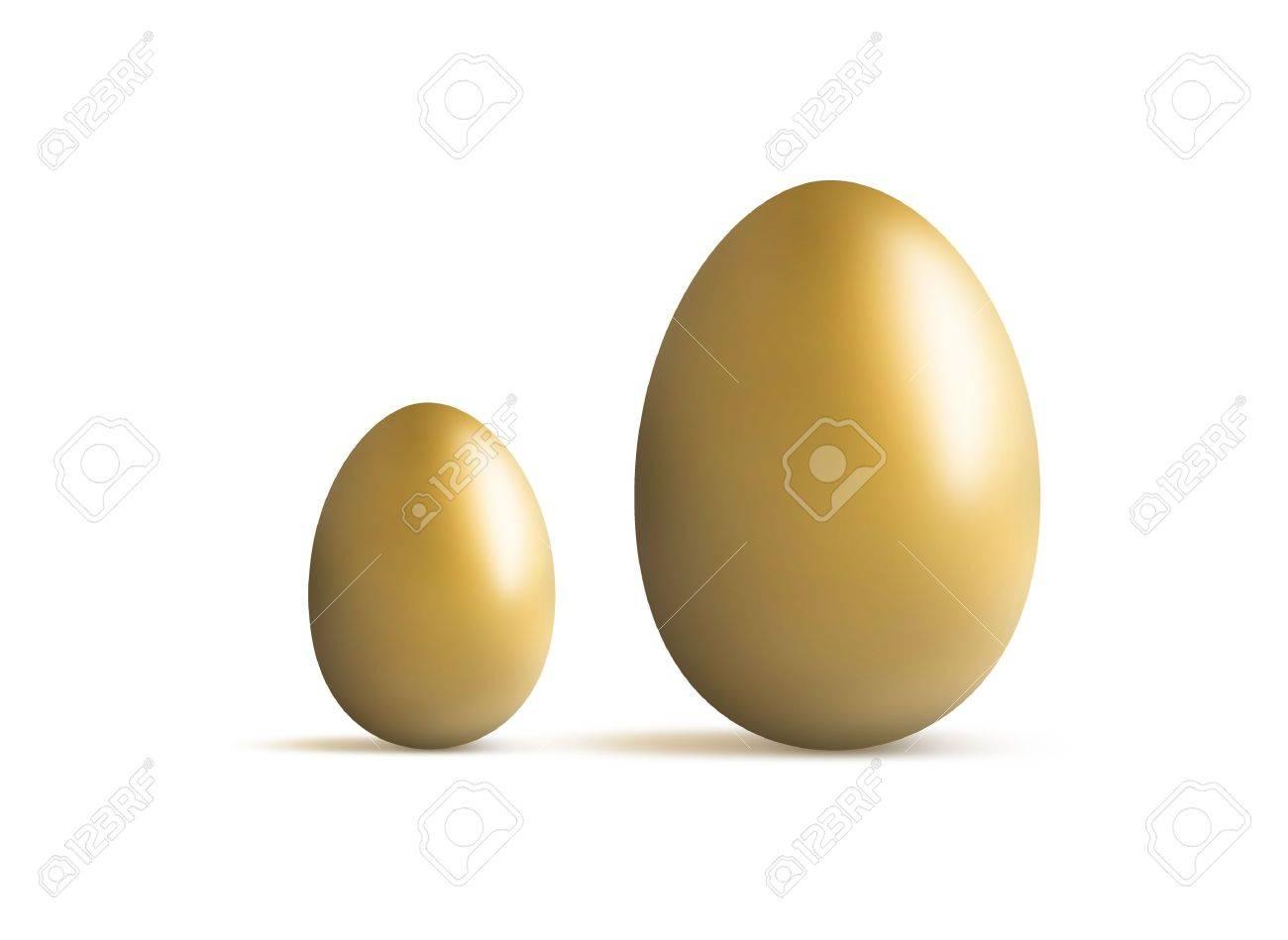 Huevo De Oro Pequeña Y Grande Para La Comparación Del Crecimiento ...