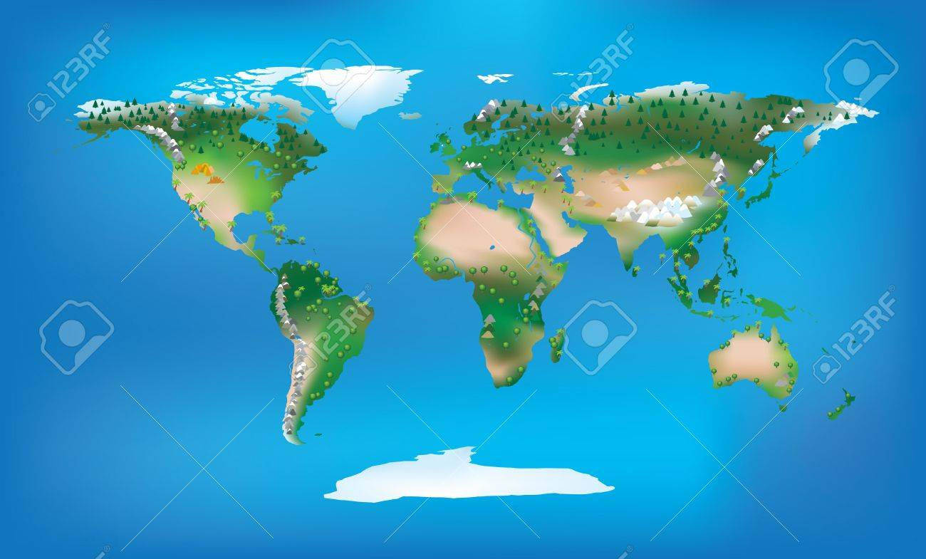 Full Map Of The World.World Map Full Colour And Detailed Land Type And Trees And Mountains