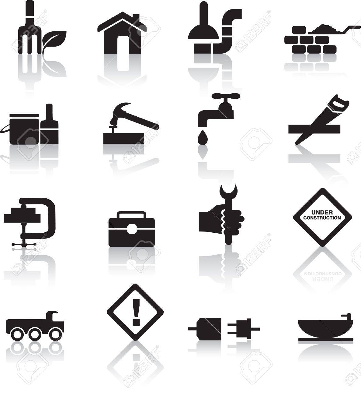 Construction and diy black silhouette icon button set royalty free construction and diy black silhouette icon button set stock vector 7007587 solutioingenieria Images
