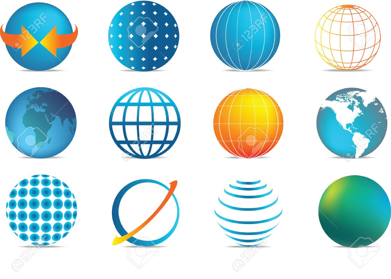 selection of colour globe icons in different illustration styles Stock Vector - 7007600