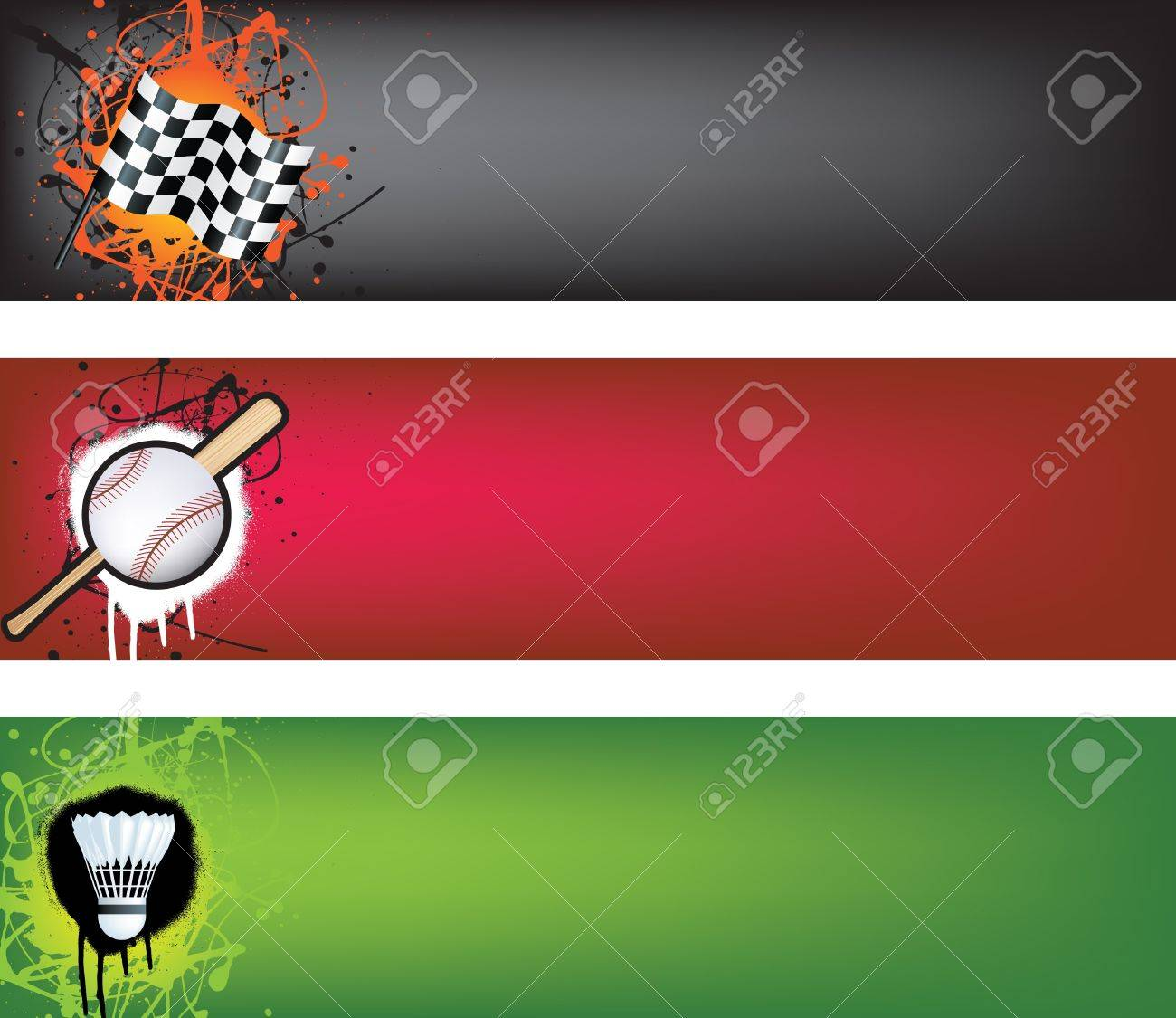sports web banner grunge style colour illustration Stock Vector - 7222270