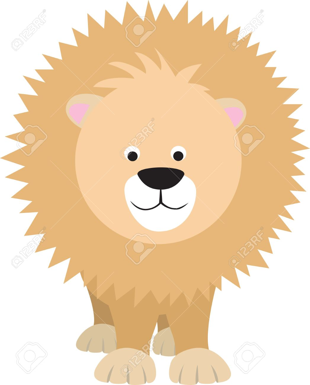 Personaje De Dibujos Animados De Color Moderna De León Sobre Fondo