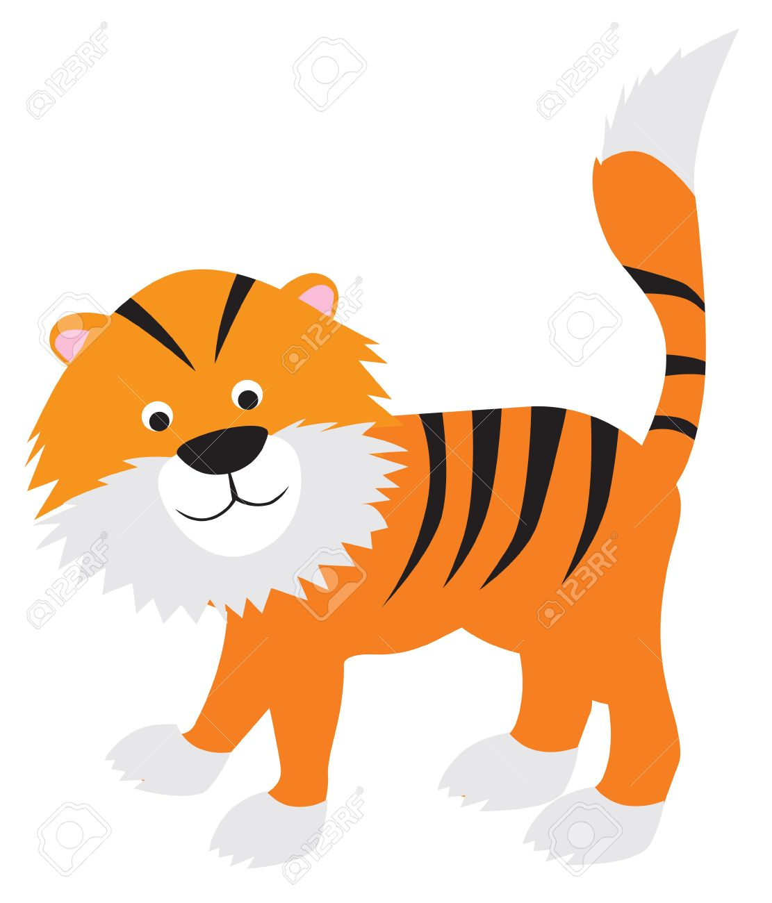 - Tiger Modern Colour Cartoon Character On White Background Royalty