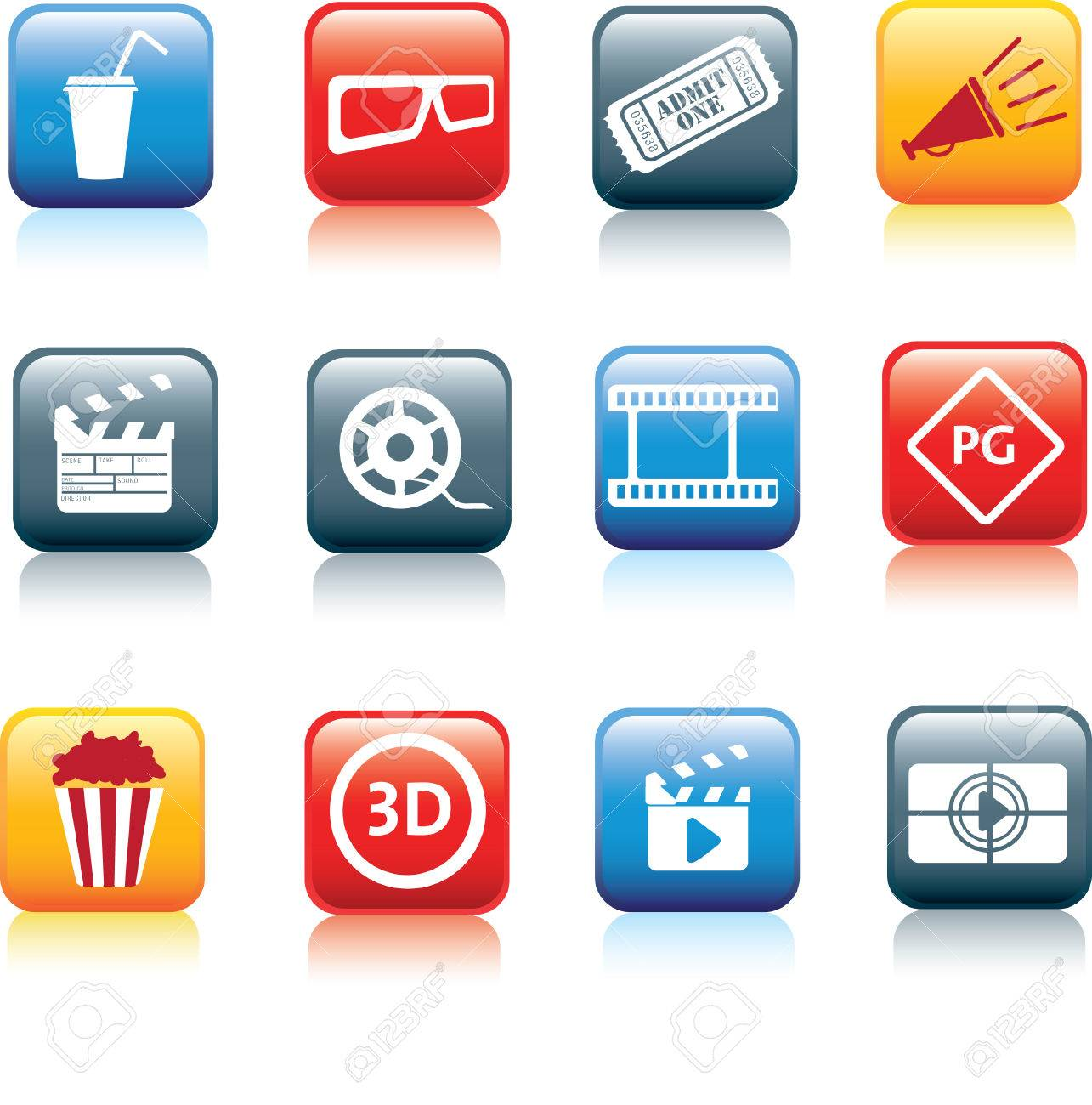 movie, film and cinema, typical square icon buttons Stock Vector - 8097111