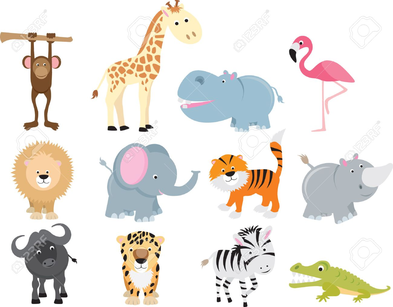set of animal icons and cartoons of wild animals royalty free