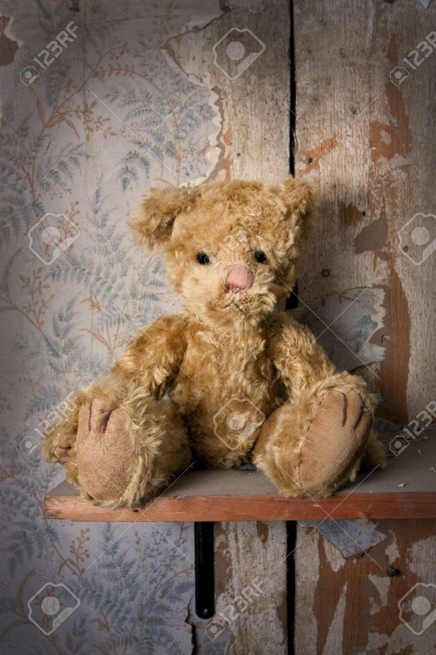 Bear alone on a shelf in a old tattered room Stock Photo - 8195298