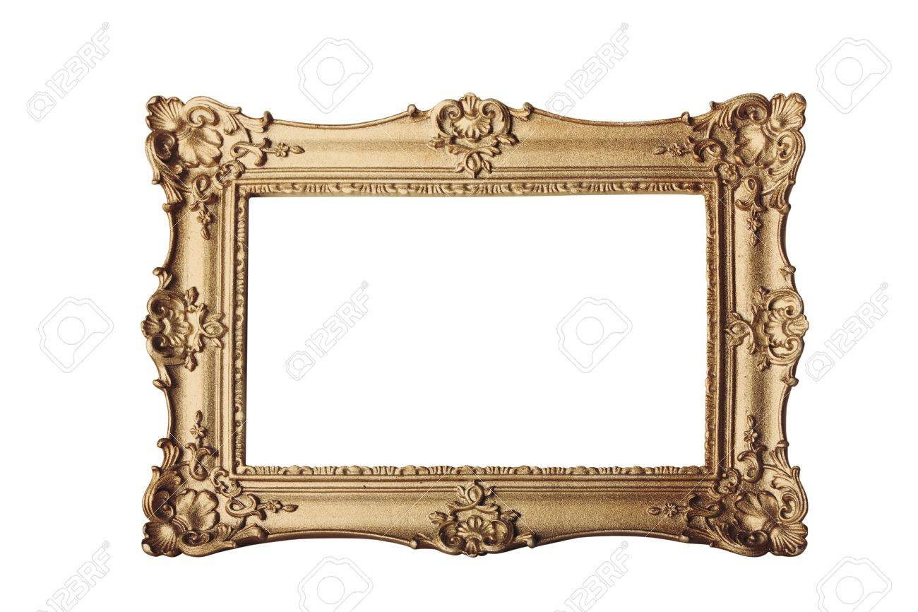 gold ornate eleaborate frame isolated on a white background Stock Photo - 8288349