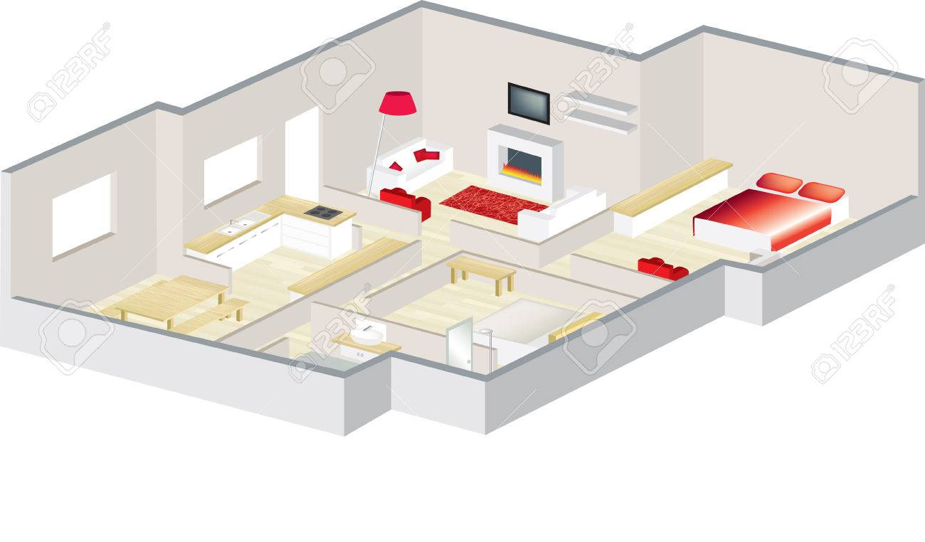 3D floorplan with furniture visualised for an apartment or a..