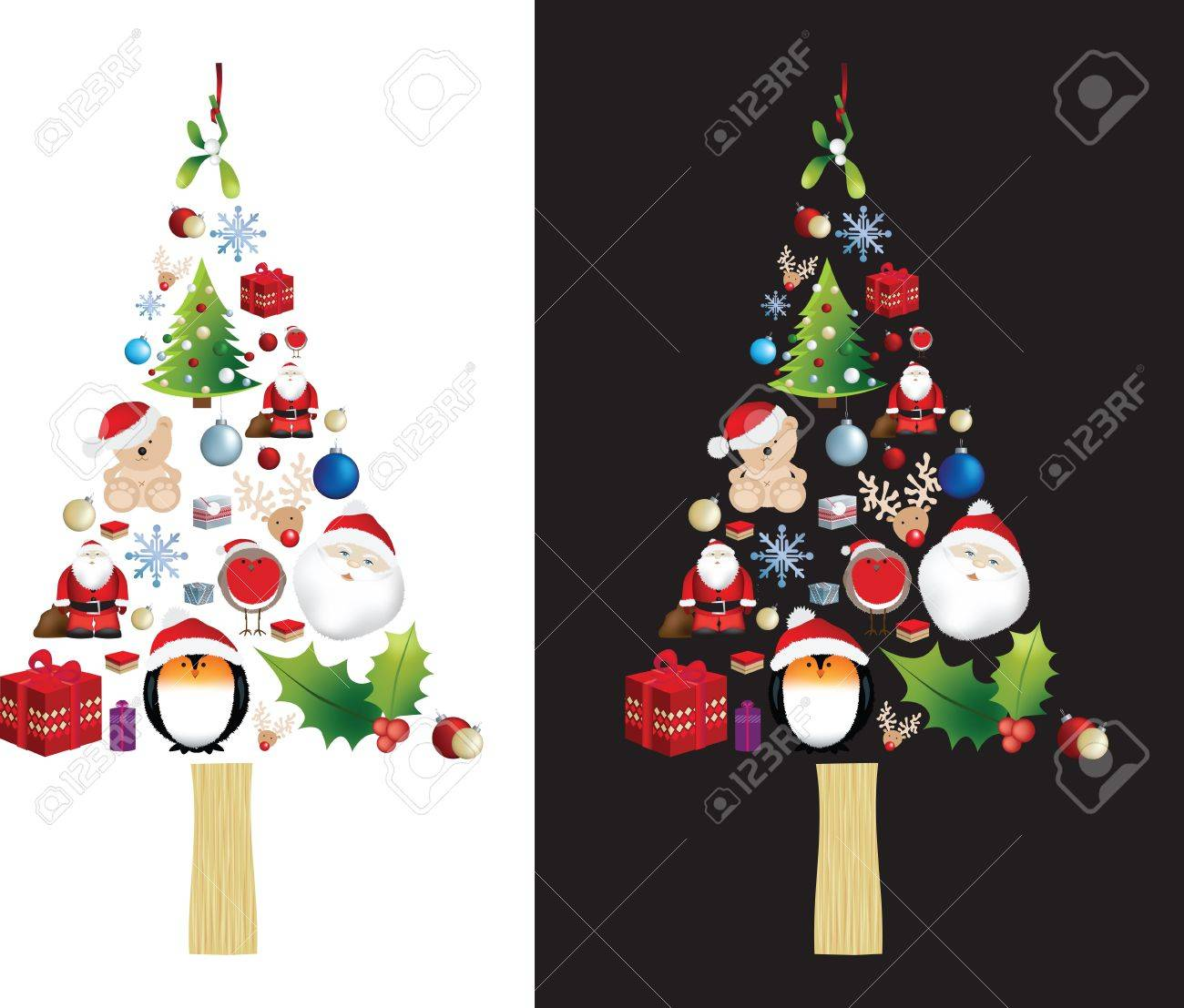 symbol of a christmas tree made up from many different christmas elements Stock Vector - 8707799