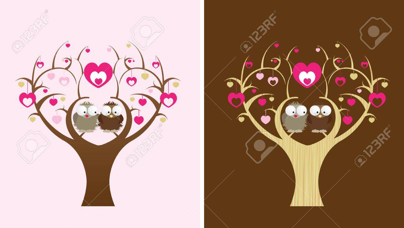 2 owls sit in a love tree, 2 colour options Stock Vector - 8706796