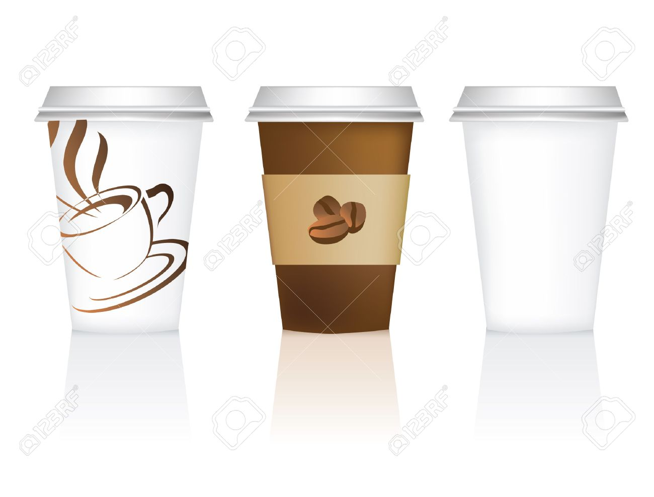 plain, and 2 designs for takeaway coffee cups Stock Vector - 8877808