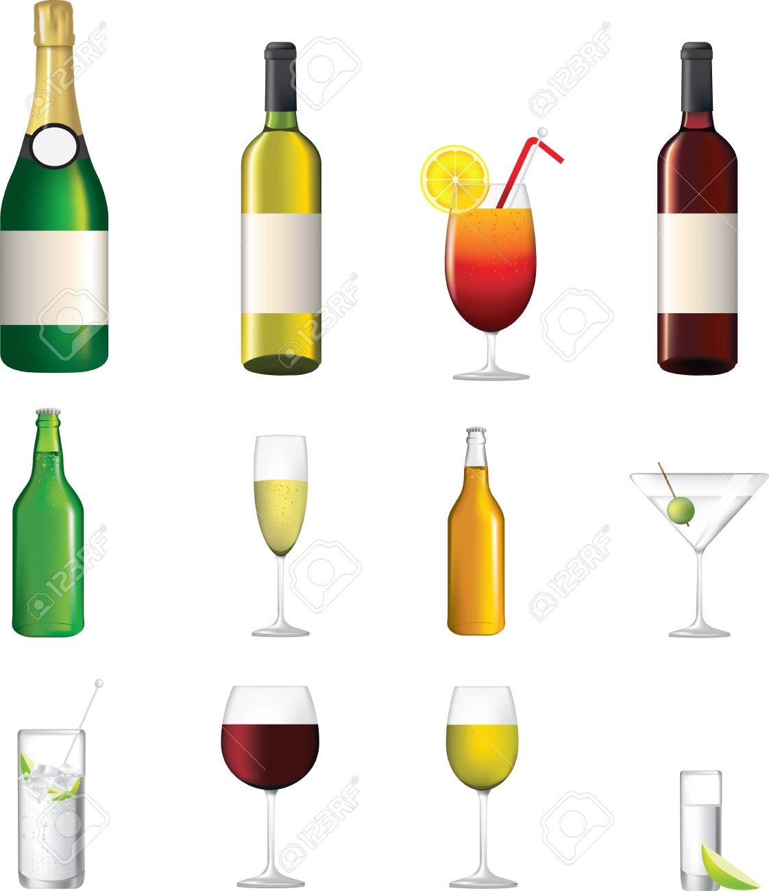 wine, champagne, shorts, cocktails, illustrations of alcoholic drinks Stock Vector - 8877816