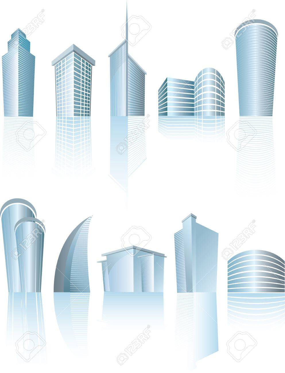 illustration of business city buildings on white Stock Vector - 9304788