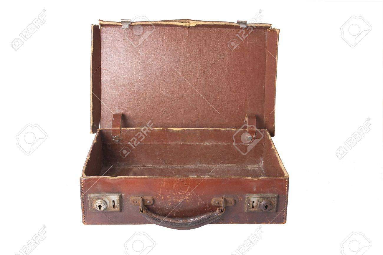 Old Brown Vintage Antique Open Empty Suitcase On White Stock Photo ...
