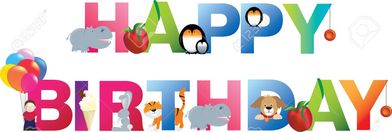 The word happy birthday  made up from alphabet cartoon letters with matching animals and objects Stock Vector - 9572510