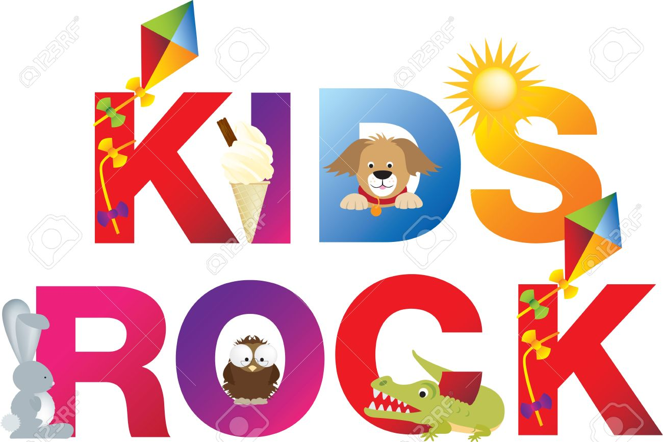 Letter Made Out Of Objects.The Word Kids Rock Made Up From Alphabet Cartoon Letters With