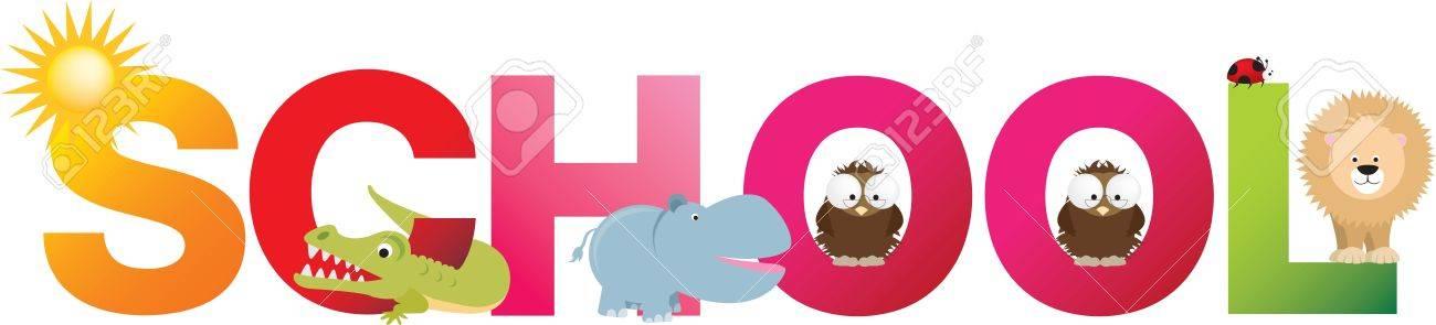 La escuela de palabra de letras del alfabeto dibujos animados con animales y objetos Foto de archivo - 9572423