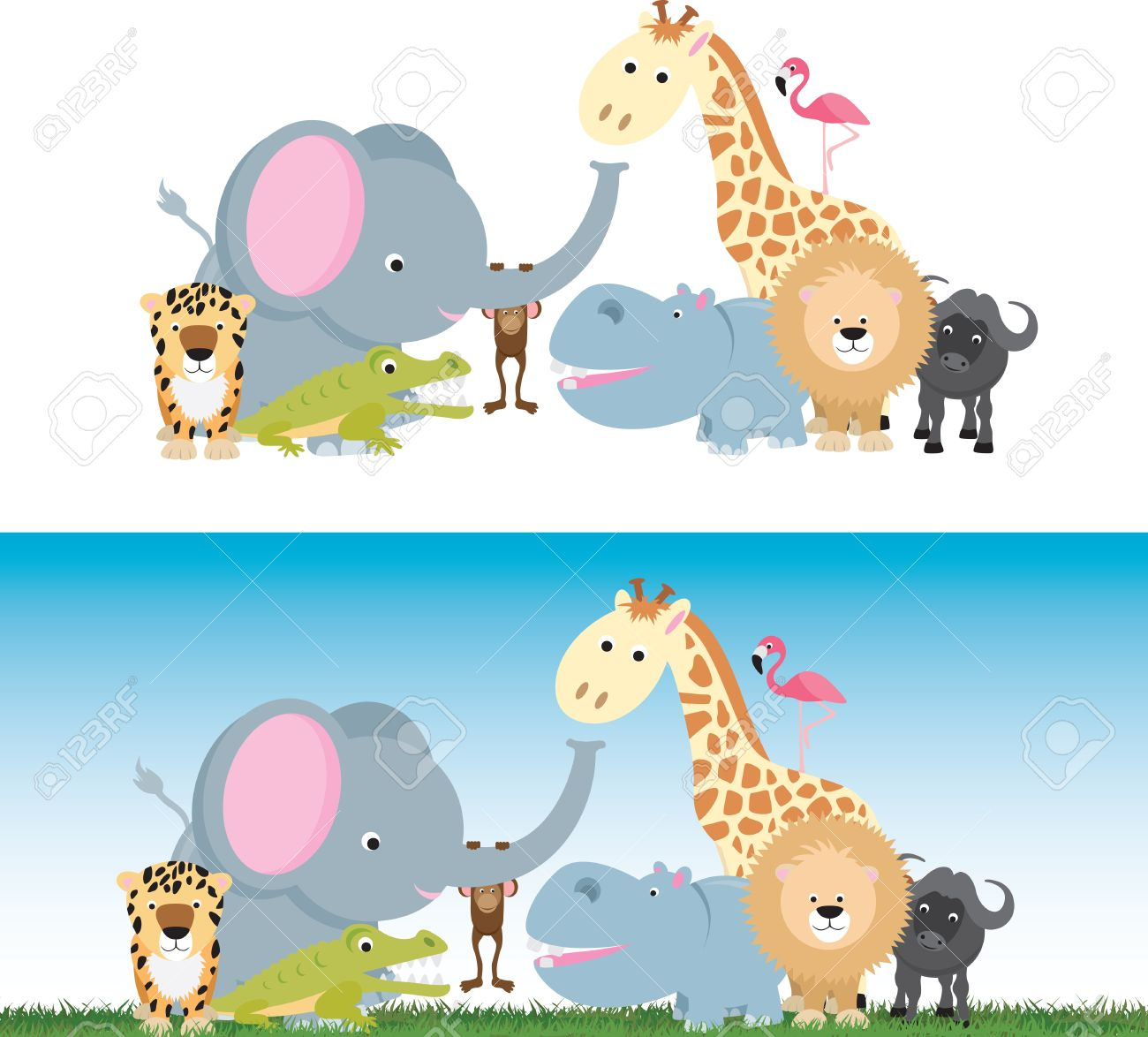 selection of wild animal cartoons including elephants, cats and a monkey Stock Vector - 9930813