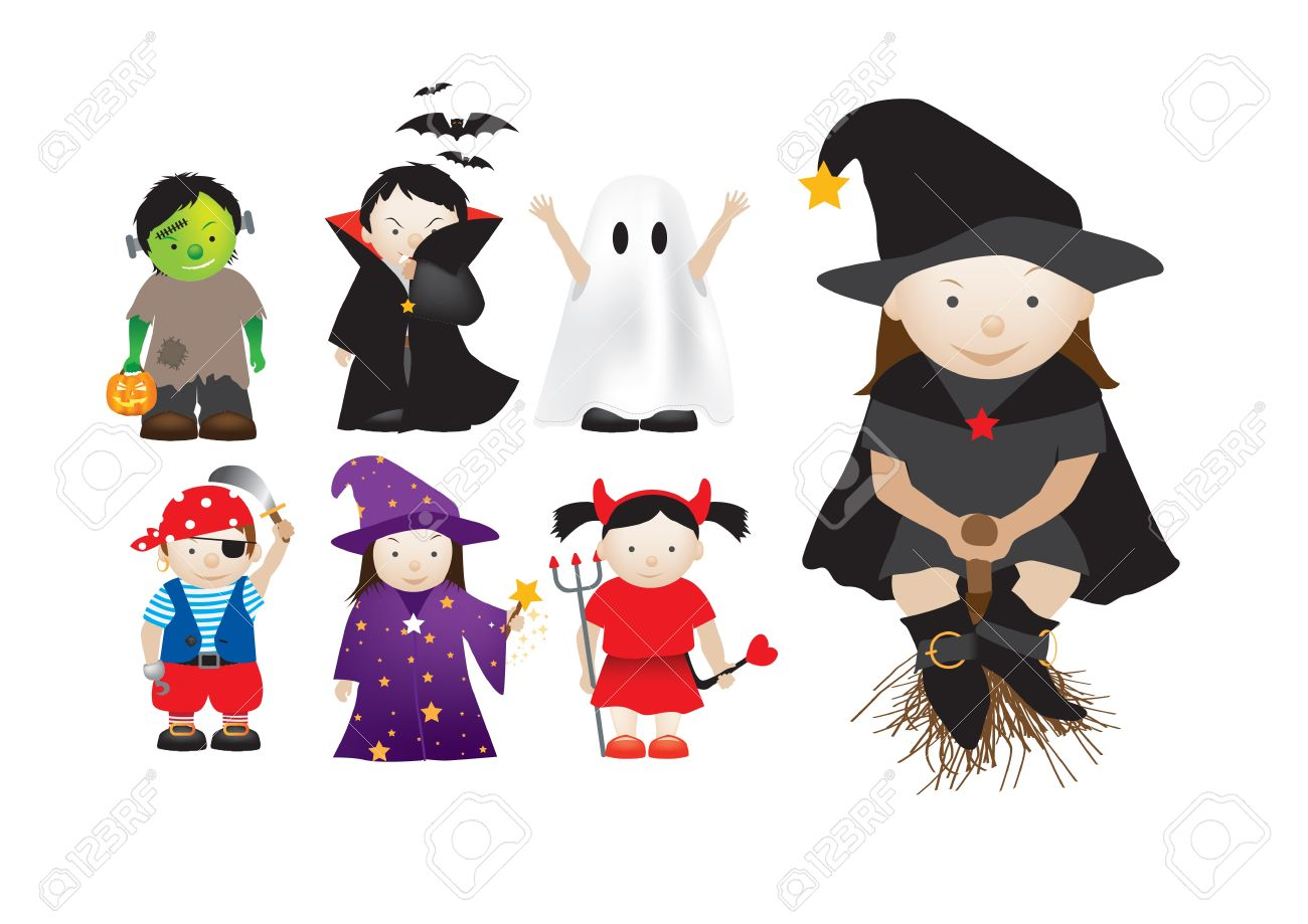 Collection Of Cartoon Halloween And Party Dressing Up Kids Royalty ...