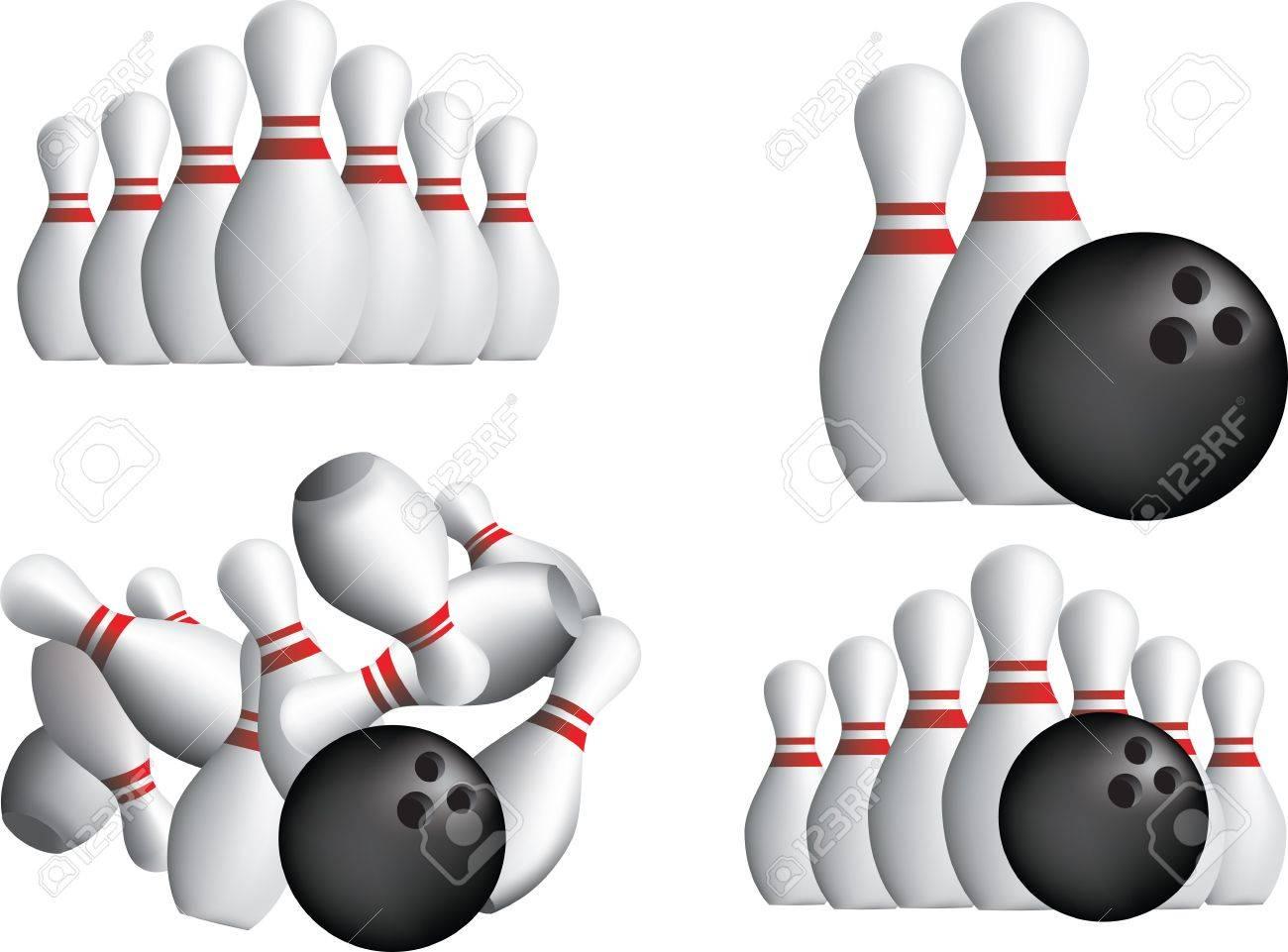 Ten Pin Bowling Pins Isoliert O Weißem Hintergrund Lizenzfrei ...