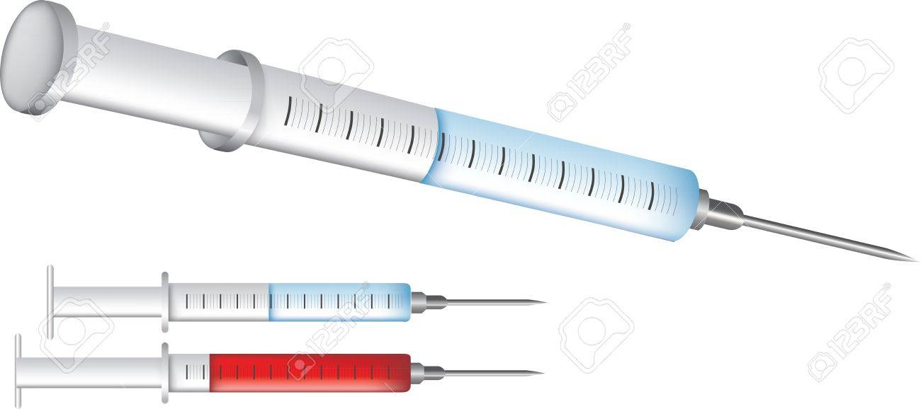 medical equipment illustrations isolated on white, injection