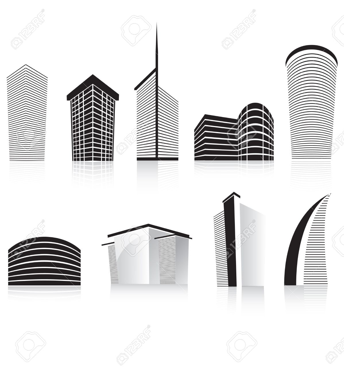 silhouettes of generic modern city office skyscrapers and headquarters buildings Stock Vector - 9991728
