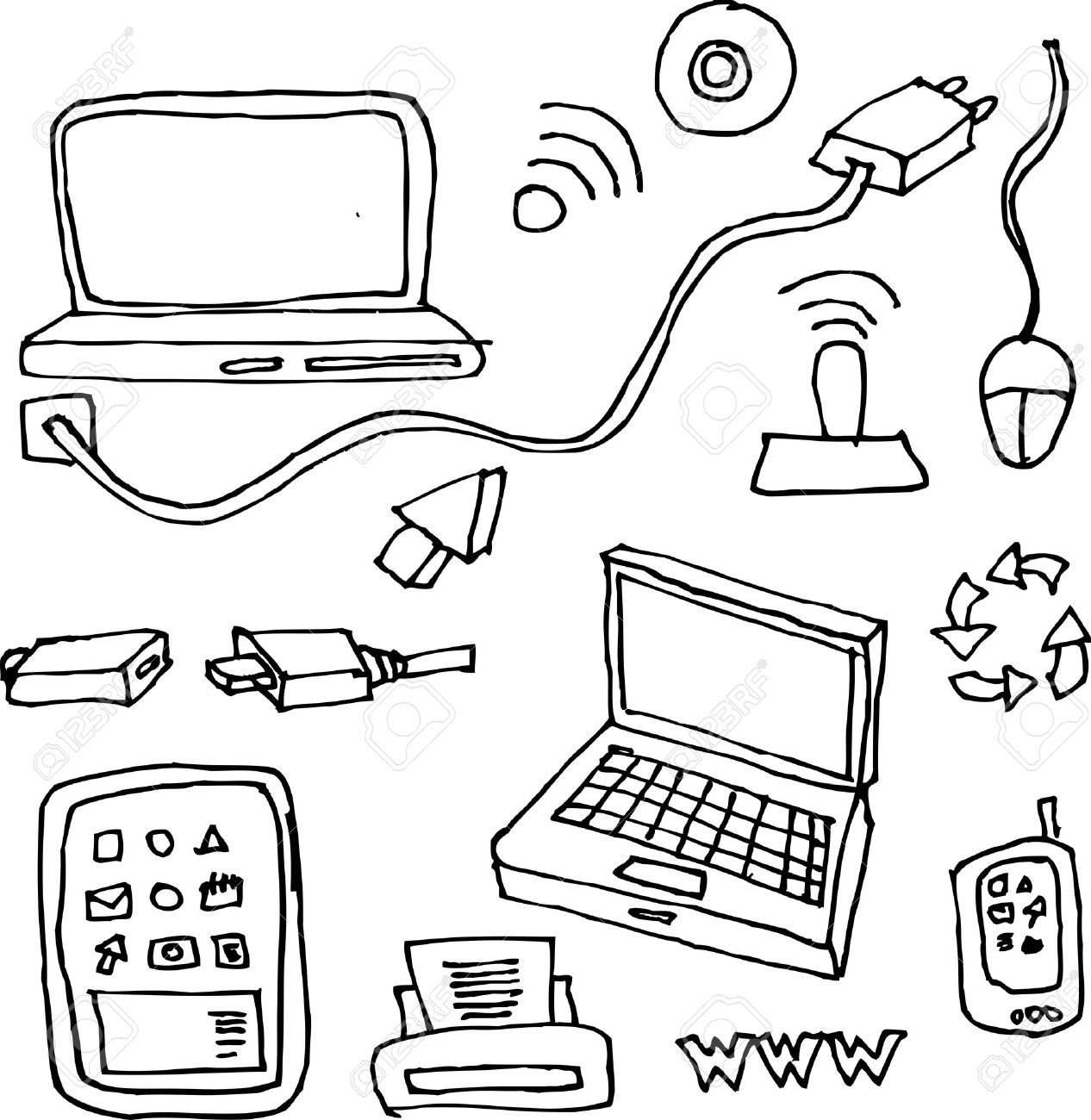 drawing by hand of computers, tablets, printers, cables and network items for technology Stock Vector - 9991723