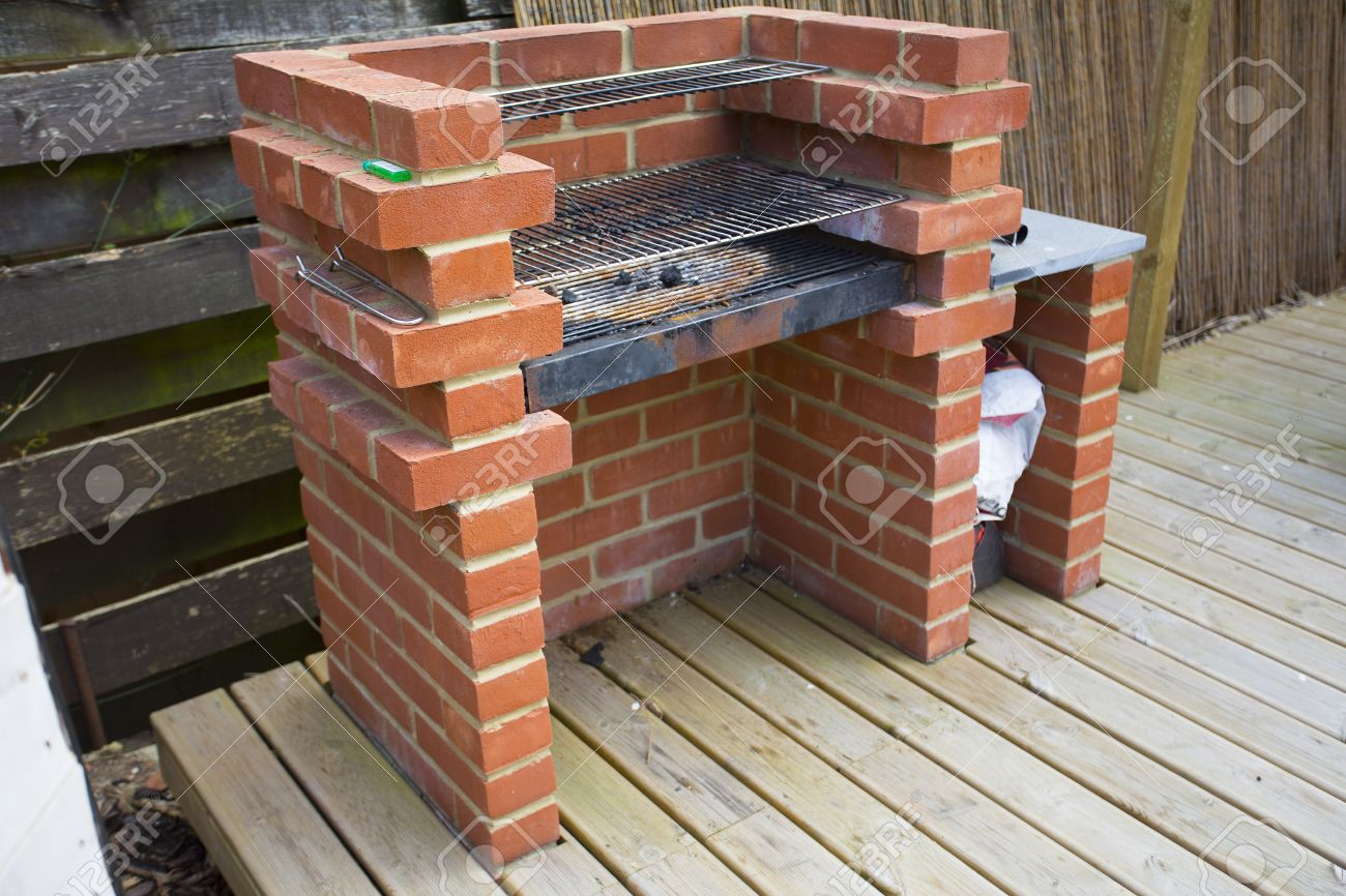 Bbq Made Of Bricks Outside In Family Garden Stock Photo, Picture And ...