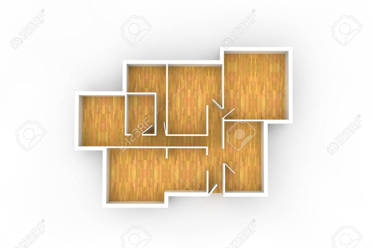 Floorplan With Wooden Floor And Empty Spaces From Above Stock Photo