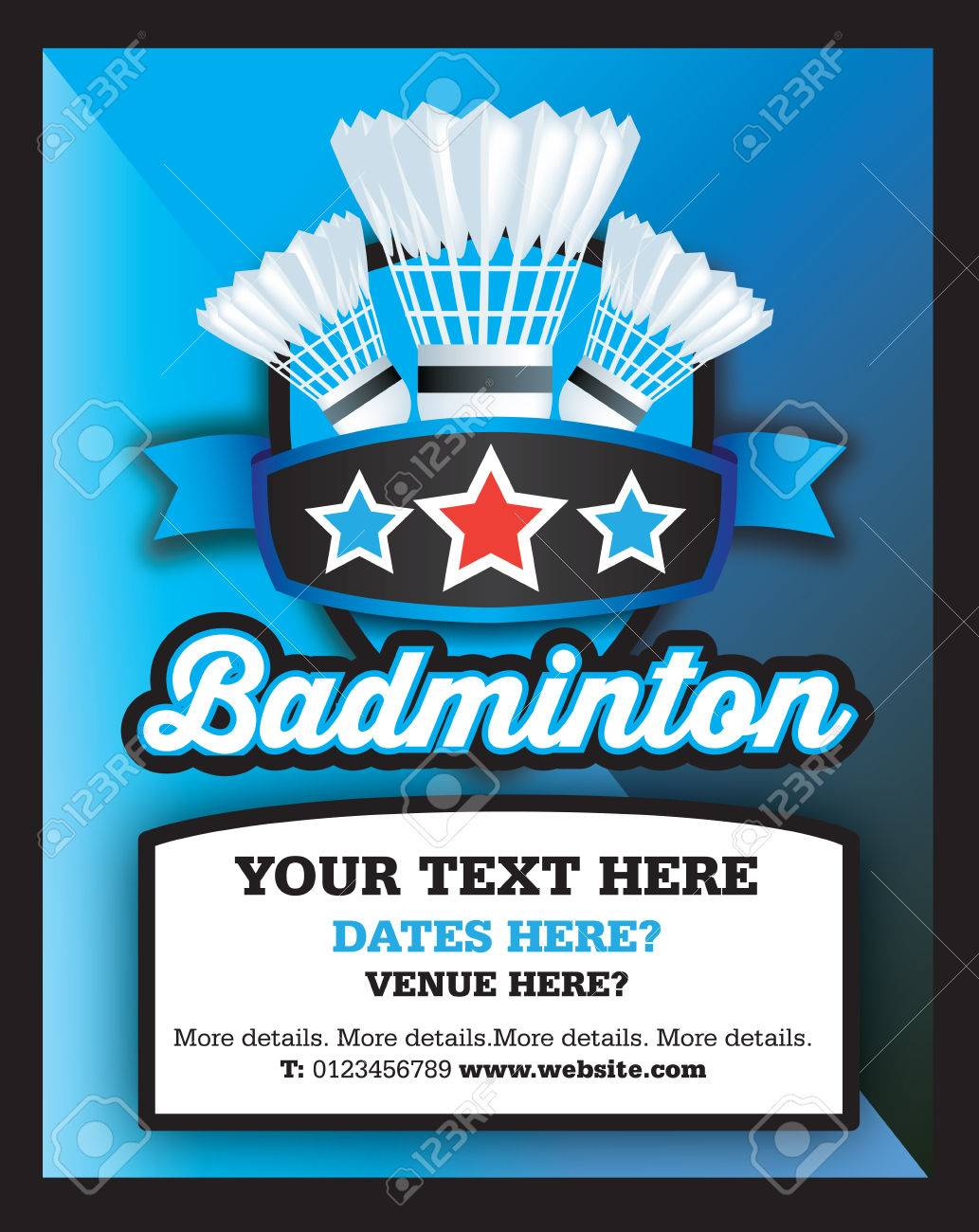 poster ad advertisement marketing or promotion flyer for a badminton club or event stock vector