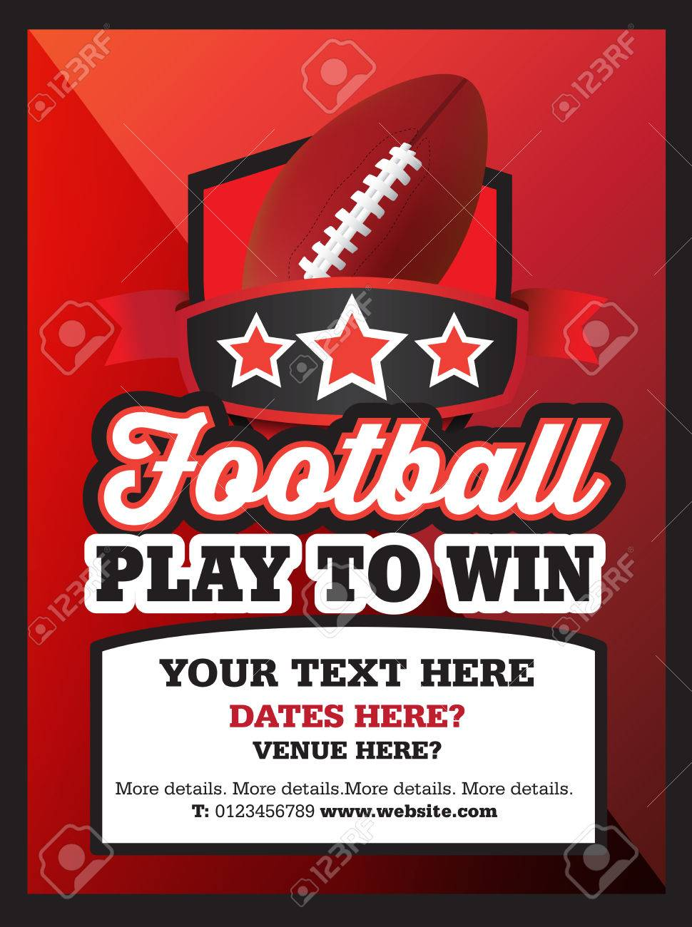 poster ad advertisement marketing or promotion flyer for a tamerican football club or event stock