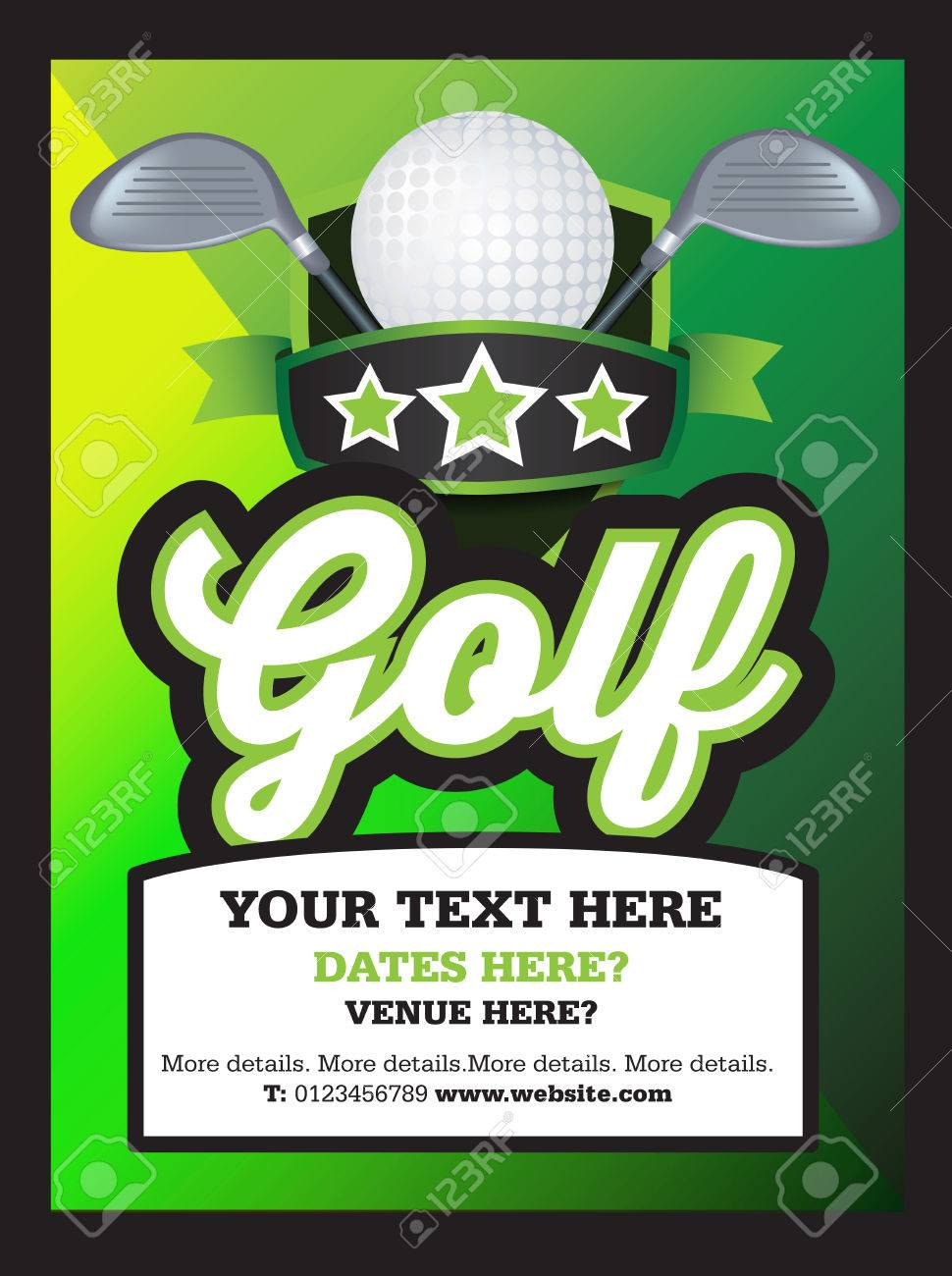 poster ad advertisement marketing or promotion flyer for a golf club or event stock vector