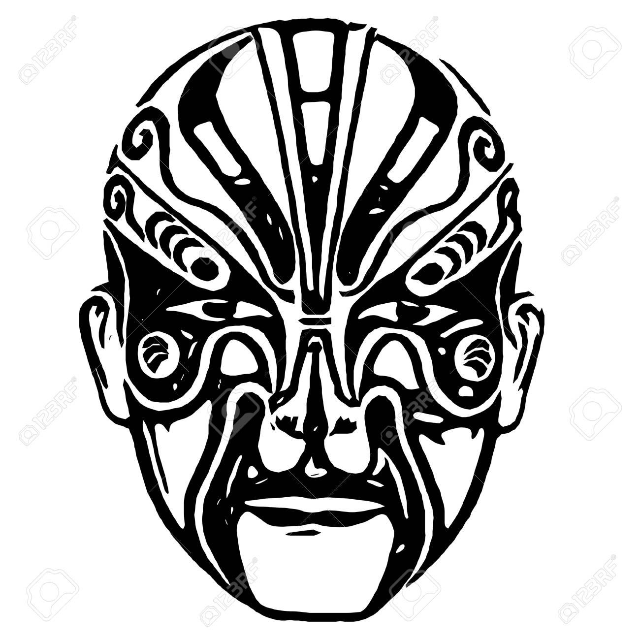 Chinese Mask Isolated On White Background By Illustration Stock