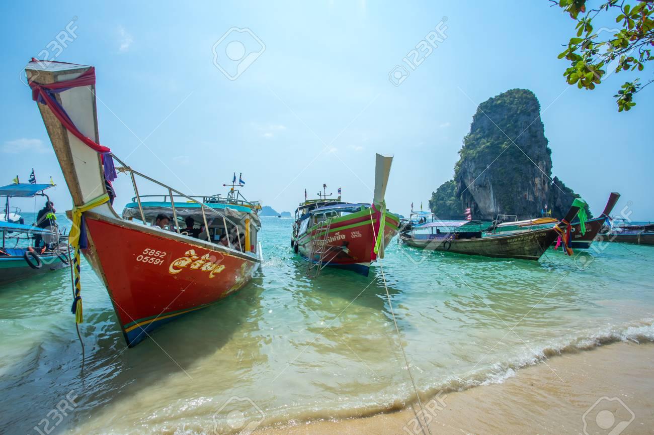 Krabi Thailand 3 Feb 2018 Longtail Boats Anchored At The Hong