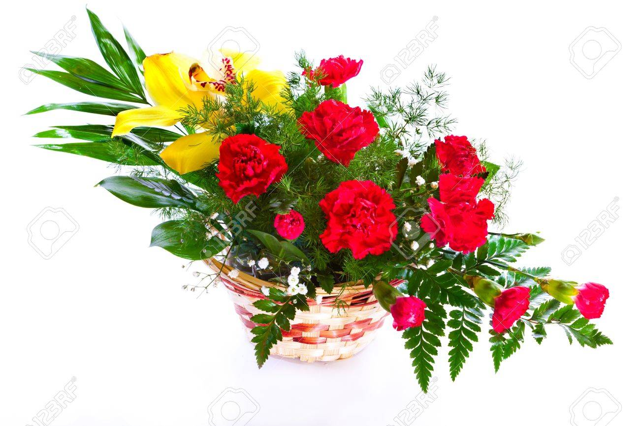 Bright Flower Bouquet In Basket Isolated Over White Background Stock