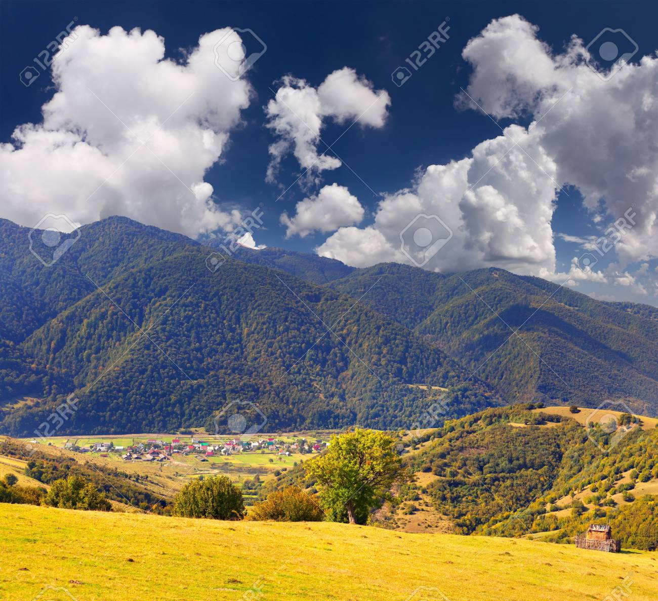 Colorful autumn landscape in the mountains village Stock Photo - 13178535